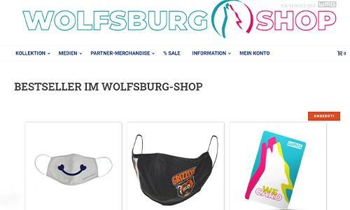 Screenshot der Startseite des Wolfsburg Online-Shops