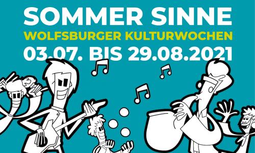 Die SommerSinne - Wolfsburger Kulturwochen finden vom 3. Juli bis zum 29. August jeweils donnerstags bis samstags in der Wolfsburger Innenstadt statt. Das Bild zeigt das Key Visual der Veranstaltung.
